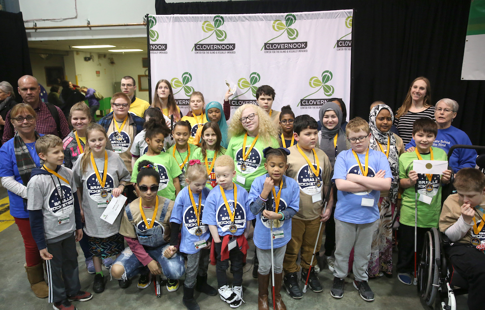 All students who competed in the 2020 Ohio Regional Braille Challenge gather for a photo at the awards celebration