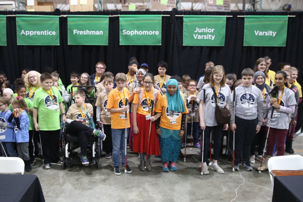 Participants assemble for the closing ceremonies at the Braille Challenge