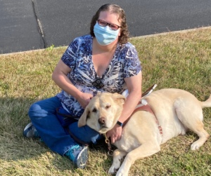 Photo of Clovernook Center Employee, Deanna and her guide dog, Mambo