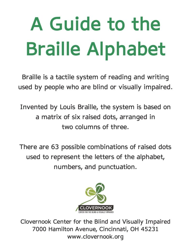 Guide to braille alphabet